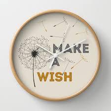 make a wish wall clock quote typo home decor by monochromestudio