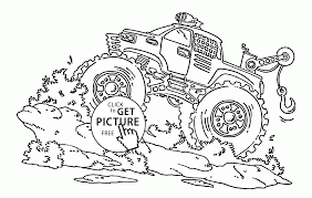 monster truck blue thunder coloring page for kids transportation