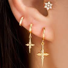 ear ring images iselin medium cross hoop earring are you am i