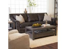 Leather Sofa With Pillows by Klaussner Wilkesboro Leather Sofa With Nailhead Studs And Pillows