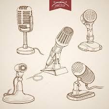 pencil sketch of microphone collection u2014 stock vector sentavio