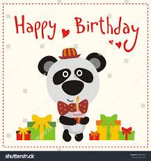 happy birthday cute panda bear red stock vector 388030780