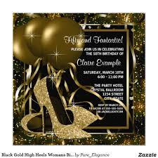 40th Birthday Invitation Cards Black Gold High Heels Womans Birthday Party 5 25x5 25 Square Paper