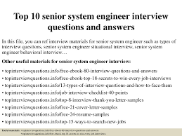 Senior Systems Engineer Resume Sample by Top10seniorsystemengineerinterviewquestionsandanswers 150321194455 Conversion Gate01 Thumbnail 4 Jpg Cb U003d1426967209