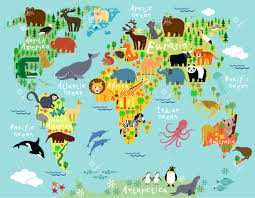 Australian Map Of The World by Animal Map Of The World For Children And Kids Royalty Free