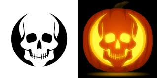 skull pumpkin carving stencil free pdf pattern to download and