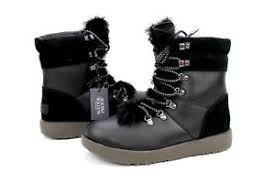 s boots size 9 ugg viki waterproof leather suede sheepskin black s boots
