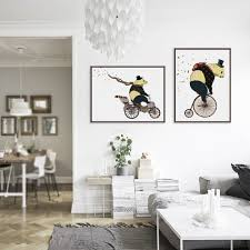 modern nordic cartoon kawaii panda bicycle art prints poster