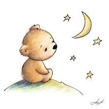 drawing of cute teddy bear watching the star digital art by anna