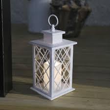 lanterne extérieure avec bougie led en métal blanc hauteur 30cm jaipur