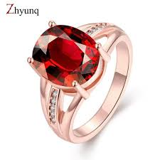 fashion gem rings images Fashion red ruby gem women engagement wedding rings 18k rose gold jpg