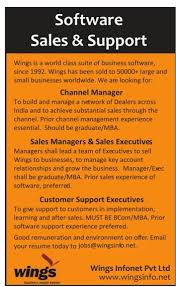 wings infonet pvt ltd software sales and support required manager