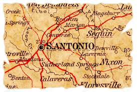 Old Texas Map San Antonio Texas On An Old Torn Map From 1949 Isolated Part