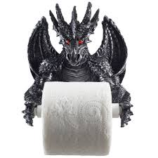 amazon com mythical winged dragon toilet paper holder in metallic
