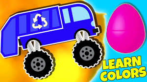 monster truck video for toddlers garbage trucks for kids surprise eggs learning colors monster