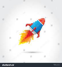 vector flat pixel art rocket on stock vector 196438064 shutterstock