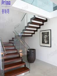 Wood Glass Stairs Design Interior Wooden Stainless Steel Railing Staircase Glass Railing