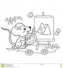 coloring outline cartoon mouse picture