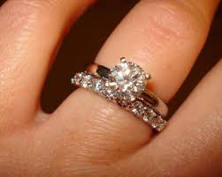 plain engagement ring with diamond wedding band show me your solitaire engagement ring w wedding band