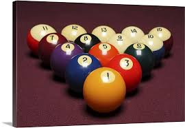 pool table wall art fifteen billiard balls arranged in triangle on pool table wall art