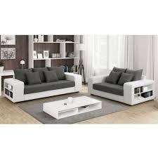 canapé 3 2 tissu canapé 3 2 places en tissu et simili lisalmi gris et blanc achat