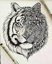 tiger with half mandala design