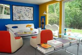 Colorful Interior Using The Primary Colors Red Blue And Yellow In This Sitting