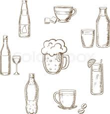 drinks alcohol and beverages sketch icons of a wine bottle and