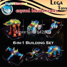light brick sets self assembled 6 in 1 electronic light up crystal building blocks