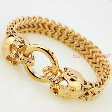 bracelet gold skull images Wholesale new fashion vintage jewelry gold stainless steel skull jpg