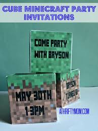 cube minecraft party invitations