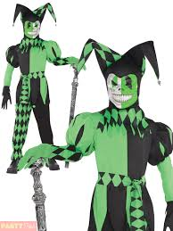 boys krazed jester costume halloween fancy dress evil clown joker