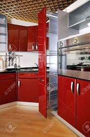 modern kitchen cabinet door a deep red stock photo picture and