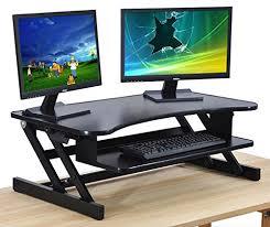 2 Monitor Computer Desk Standing Desk The Deskriser Height Adjustable Sit Stand Up