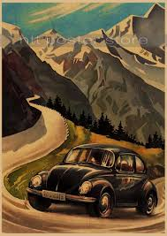 volkswagen vintage cars vintage classic volkswagen car vw type mini bus poster bar cafe