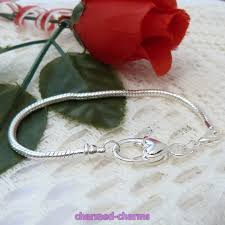 charm snake bracelet images Silver plated heart lobster clasp 3mm snake chain european charm jpg