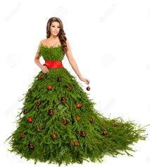 christmas tree woman dress fashion model isolated on white