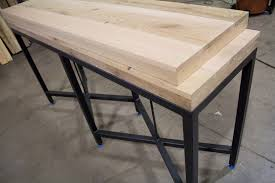 reclaimed oak table top in the shop reclaimed oak console tables with metal base resawn