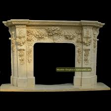 granite fireplace hearth floral foliage versailles style