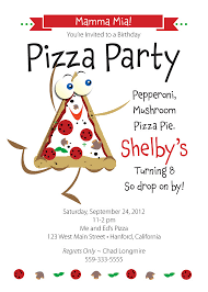 nice pizza party birthday party invitation card template with