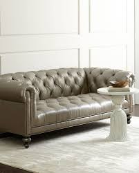 morgan gray tufted leather sofa grey old hickory tannery sofa
