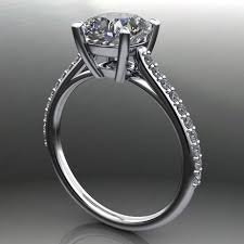 cathedral setting evangeline ring 1 7 carat cushion cut neo moissanite engagement