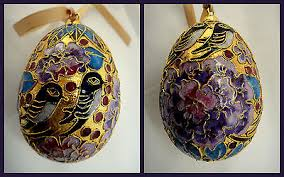 cloisonne egg ornament large enameled heirloom nyc co gold plated