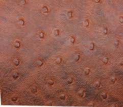 Leather Home Decor by Vinyl Ostrich Emu Saddle Brown Faux Leather Home Decor