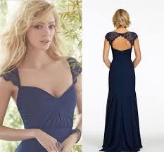 navy dark blue full length lace cap sleeves modest chiffon wedding