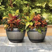 resin wine barrel planters 2 pack