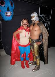 nacho libre costume with the family lotería chicana