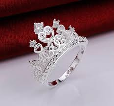 engagement rings size 8 sterling silver cubic zirconia princess crown ring size 8 2450658