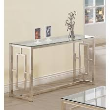 nickel plated desk l coaster contemporary glass top sofa table in satin nickel 703739ii
