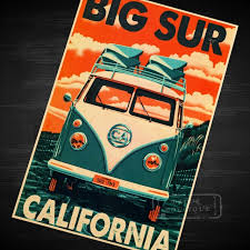California Travel Stickers images California big surf vintage travel surf beach poster retro canvas jpg